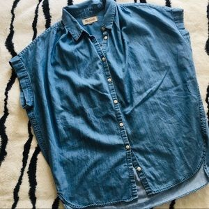Madewell Oversized Jean Button Down Blouse Top
